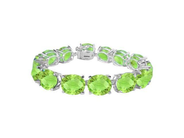 Sterling Silver Prong Set Oval Peridot Bracelet with 50.00 CT TGW