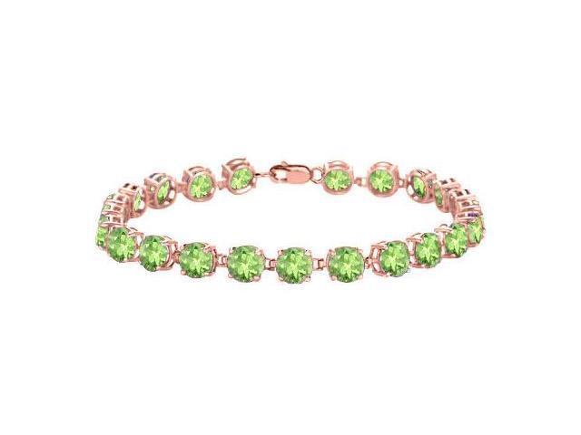 Peridot Tennis Bracelet in 14K Rose Gold Vermeil. 12 CT. TGW. 7 Inch