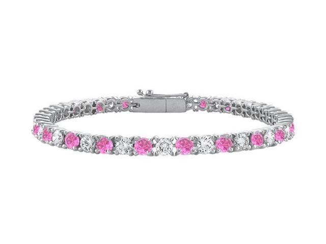 Created Pink Sapphire and Cubic Zirconia Prong Set 10K White Gold Tennis Bracelet 2.00 CT TGW