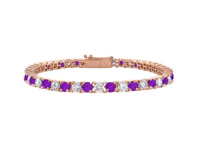 Cubic Zirconia and Amethyst Tennis Bracelet in 14K Rose Gold Vermeil. 3 CT. TGW. 7 Inch