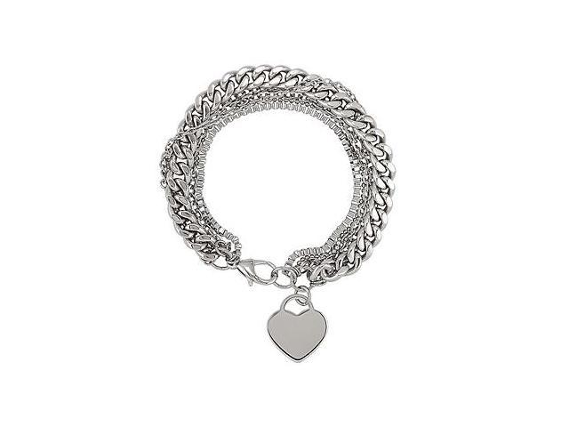 Multiple Chain with Heart Bracelet in Stainless Steel 8 Inch Length