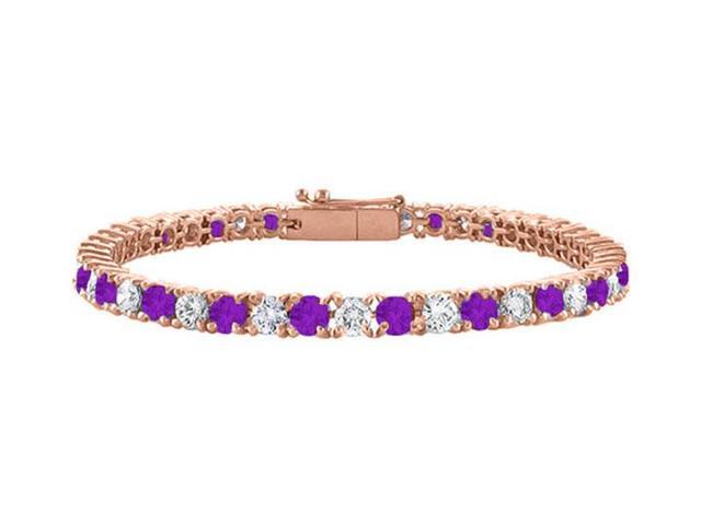 Cubic Zirconia and Amethyst Tennis Bracelet in 14K Rose Gold Vermeil. 4CT TGW. 7 Inch