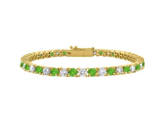 Tennis Bracelet Peridot and Cubic Zirconia in 18K Yellow Gold Vermeil. 3CT. TGW.