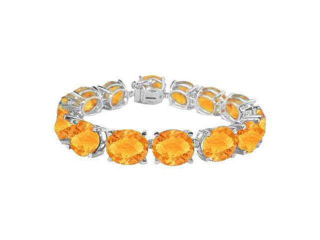 Sterling Silver Prong Set Oval Citrine Bracelet with 50.00 CT TGW