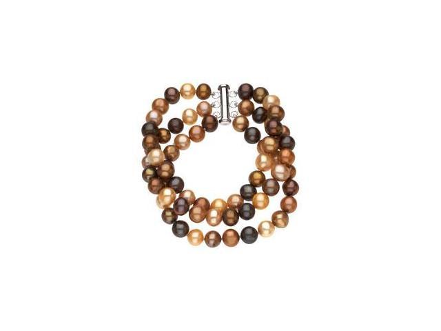 Sterling Silver and Freshwater Dyed Chocolate Cultured Pearl Triple Strand Bracelet - 7.25 Inch/