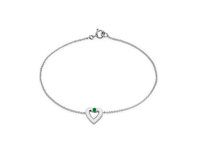 Emerald Heart Bracelet in 14K White Gold   0.10.ct.tw