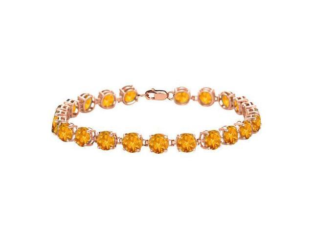 Tennis Citrine Bracelet in 14K Rose Gold Vermeil. 12 CT. TGW. 7 Inch