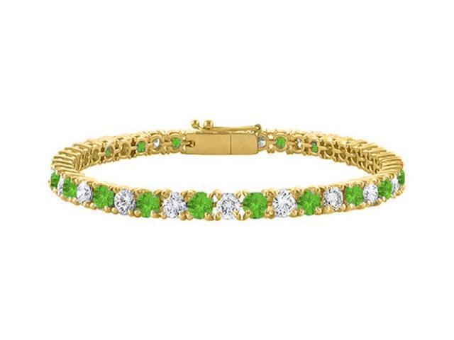Peridot Tennis Bracelet with Cubic Zirconia 4CT. TGW. on 18K Yellow Gold Vermeil. 7 Inch