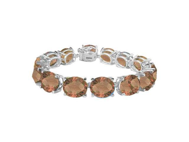 Sterling Silver Prong Set Oval Smoky Topaz Bracelet with 50.00 CT TGW