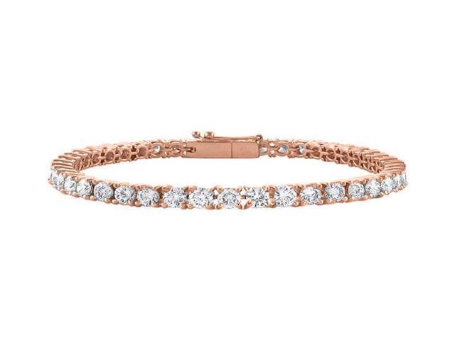 Diamond Tennis Bracelet in 14K Rose Gold. 4CT. TGW. 7 Inch