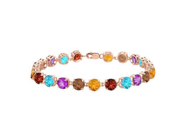 Multi Gemstone Tennis Bracelet in 14K Rose Gold Vermeil. 12 CT. TGW. 7 Inch