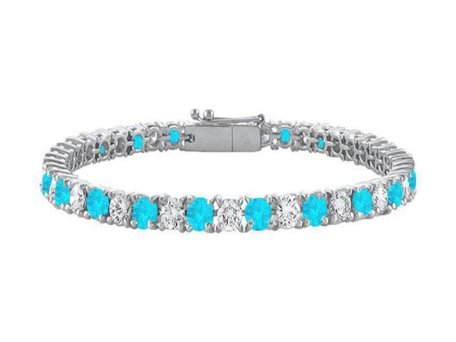 Sterling Silver Round Blue Topaz and Cubic Zirconia Tennis Bracelet 10.00 CT TGW