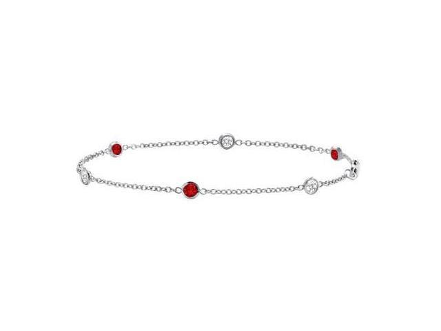 Ruby and Diamond Bracelet  14K White Gold - 0.75 CT TGW