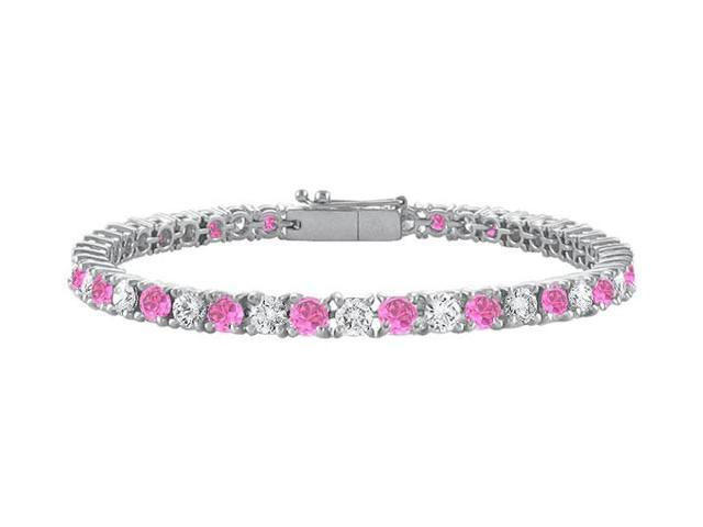 Created Pink Sapphire and Cubic Zirconia Prong Set 10K White Gold Tennis Bracelet 5.00 CT TGW