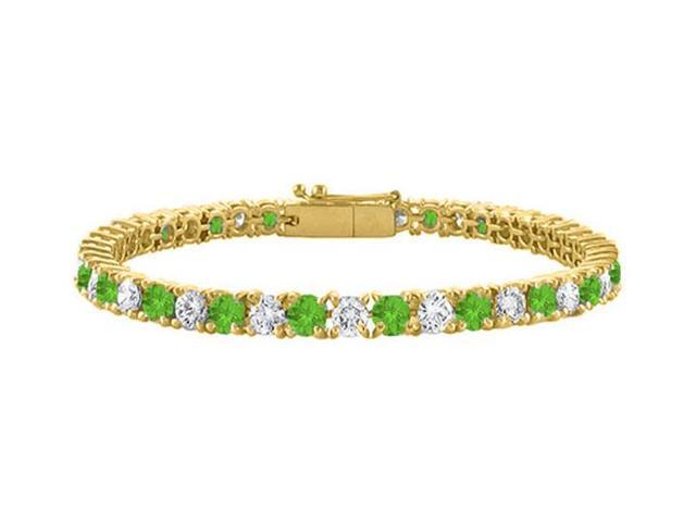 Cubic Zirconia and Peridot Tennis Bracelet in 18K Yellow Gold Vermeil. 5 CT. TGW. 7 Inch