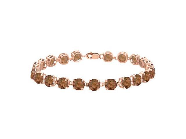 Tennis Smoky Quartz Bracelet in 14K Rose Gold Vermeil. 12 CT. TGW. 7 Inch