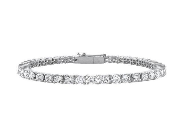 14K White Gold  Cubic Zirconia Prong-Set 3.00 CT TGW Tennis Bracelet