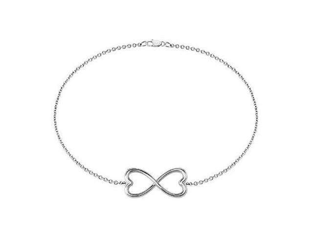 Heart Infinity Bracelet in Rhodium Plating .925 Sterling Silver 7 Inch and a Lobster Lock