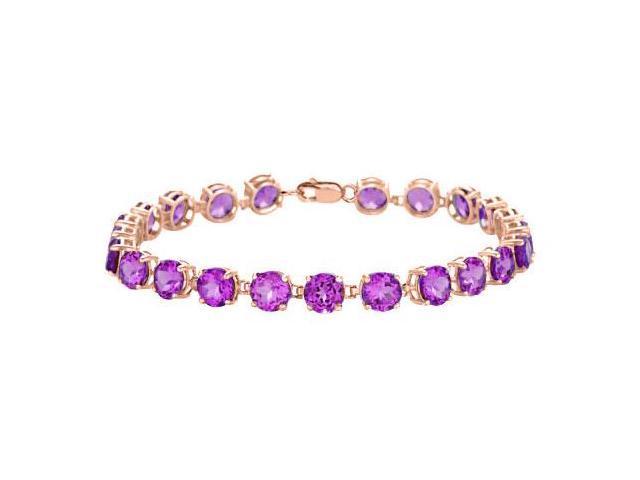 Tennis Amethyst Bracelets in 14K Rose Gold Vermeil. 12 CT. TGW. 7 Inch