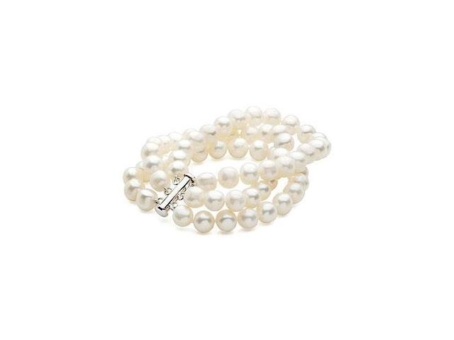 Sterling Silver and Freshwater White Cultured Pearl Triple Strand Bracelet - 7.25 Inch / 8-9 MM