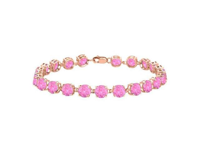Bracelets Created Pink Topaz Tennis in 14K Rose Gold Vermeil. 12 CT. TGW. 7 Inch