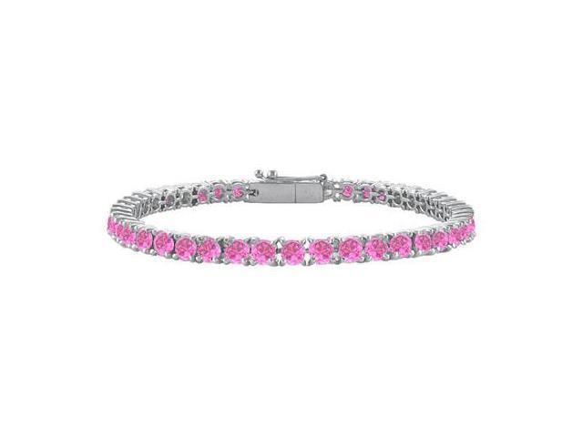 Created Pink Sapphire Tennis Bracelet 14K White Gold 3.00 CT TGW