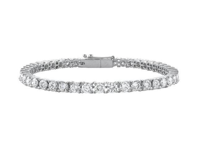14K White Gold  Cubic Zirconia Prong-Set 4.00 CT TGW Tennis Bracelet