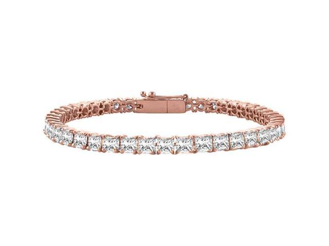 Diamond Tennis Bracelet Princess Cut in 14K Rose Gold. 2CT. TDW. 7 Inch