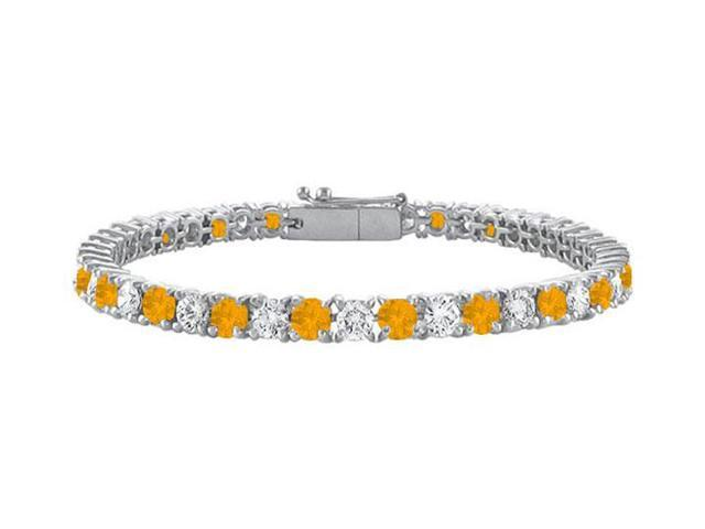 Sterling Silver Round Citrine and Cubic Zirconia Tennis Bracelet 4.00 CT TGW
