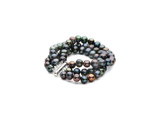 Sterling Silver and Freshwater Black Cultured Pearl Triple Strand Bracelet - 7.25 Inch / 8-9 MM