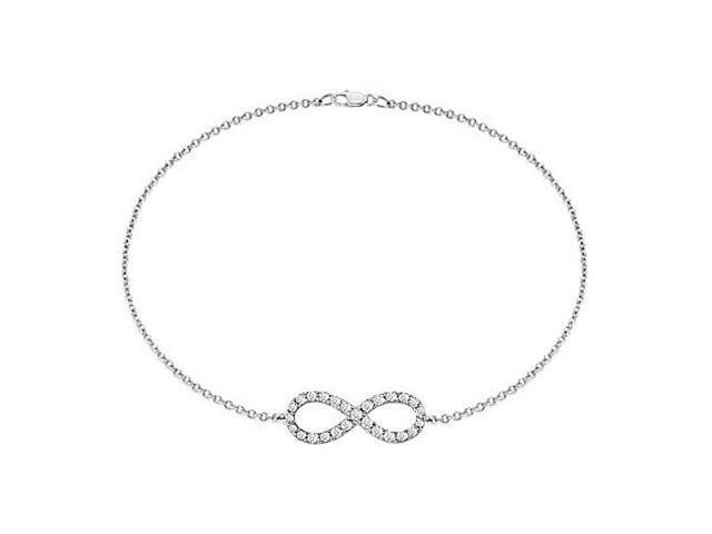 Tiffany Inspired Triple AAAQuality CZ Infinity Bracelet in .925 Sterling Silver Half a Carat CZ