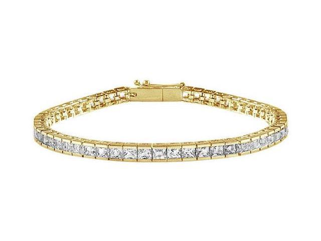 CZ Tennis Bracelet Princess Cut AAA CZ Tennis Bracelet 3 Carat Set in 18K Yellow Gold Vermeil