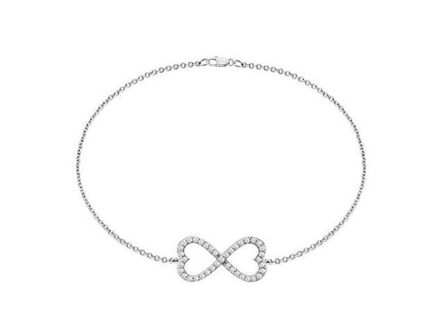 Rhodium Plating .925 Sterling Silver Heart Infinity Bracelet 0.50 Carat Triple AAA Quality CZ