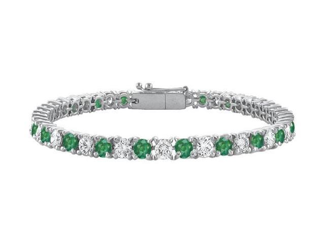 Sterling Silver Round Frosted Emerald and Cubic Zirconia Tennis Bracelet 7.00 CT TGW