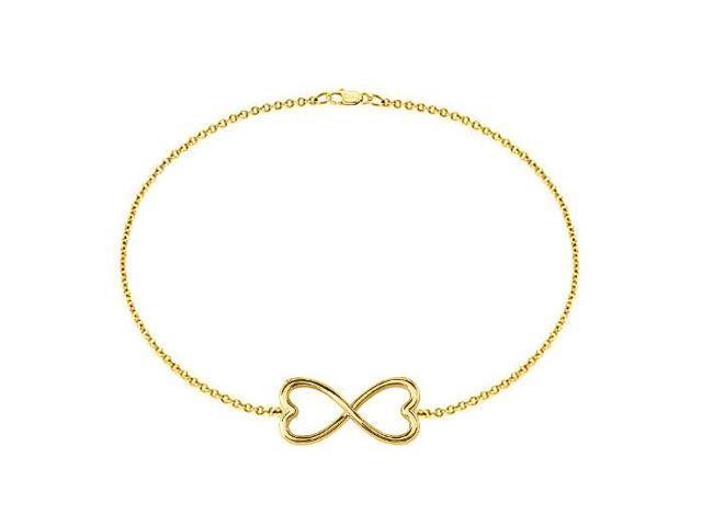 Heart Infinity Bracelet in Sterling Silver with 18K Yellow Gold Vermeil 7 Inch Bracelet