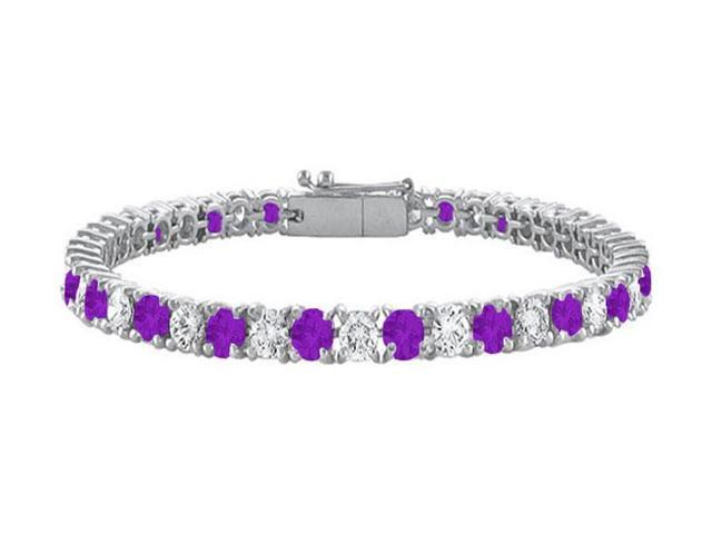 Amethyst and Cubic Zirconia Prong Set 10K White Gold Tennis Bracelet 10.00 CT TGW