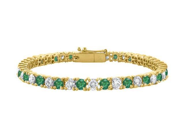 Tennis Bracelet Emerald Created and Cubic Zirconia in 18K Yellow Gold Vermeil. 7CT. TGW. 7 Inch