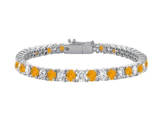 Sterling Silver Round Citrine and Cubic Zirconia Tennis Bracelet 10.00 CT TGW