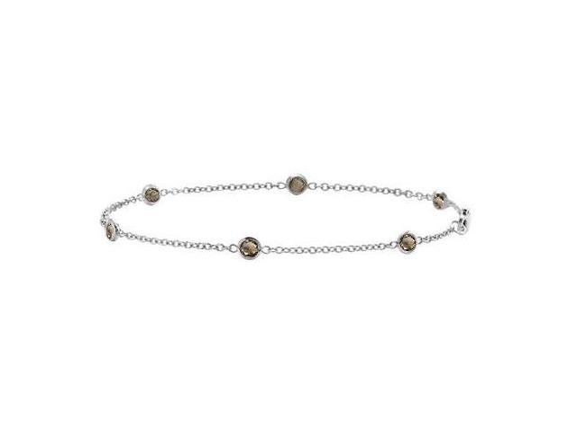 14K White Gold Smoky Quartz Station Bracelet By The Yard 7 Inch with 0.60 Carat Total Weight
