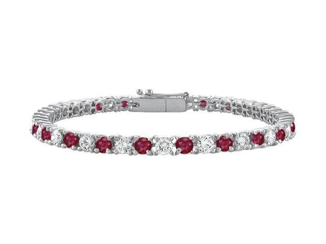 Sterling Silver Round GF Bangkok Ruby and Cubic Zirconia Tennis Bracelet 2.00 CT TGW