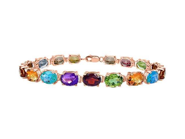 Tennis Bracelets Multi Color Gemstone Oval Cut in 14K Rose gold Vermeil. 15CT. TGW 7 Inch