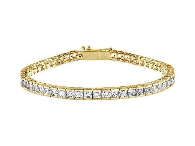 CZ Tennis Bracelet 7 Carat Princess Cut AAA CZ Tennis Bracelet Set in 18K Yellow Gold Vermeil