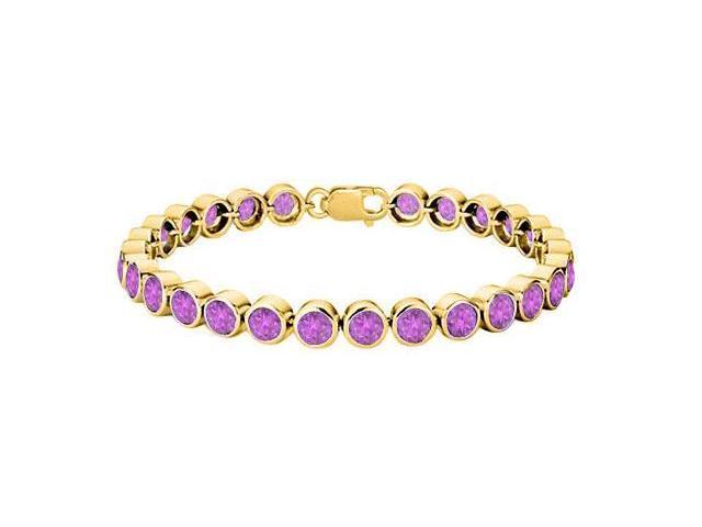 18K Yellow Gold Vermeil Bezel Set Amethyst Tennis Bracelet in Sterling Silver Twenty Five Carat