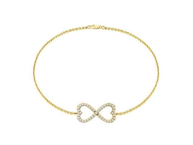 Sterling Silver with 18K Yellow Gold Vermeil Infinity Bracelet of Half a Carat CZ Totaling