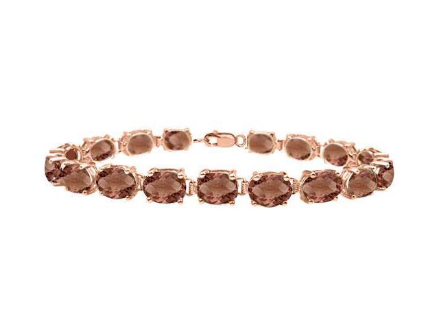 Tennis Smoky Quartz Bracelet Oval Cut in14K Rose gold Vermeil. 15CT. TGW 7 Inch