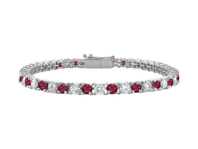 Sterling Silver Round GF Bangkok Ruby and Cubic Zirconia Tennis Bracelet 3.00 CT TGW
