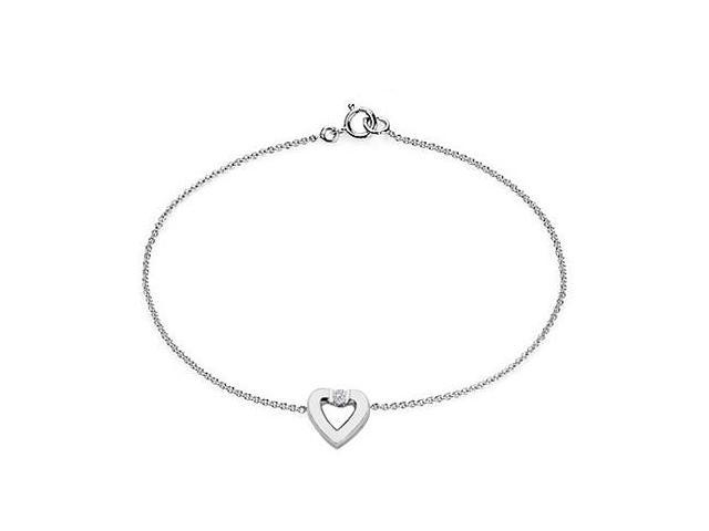 Diamond Heart Bracelet in 14K White Gold   0.10.ct.tw