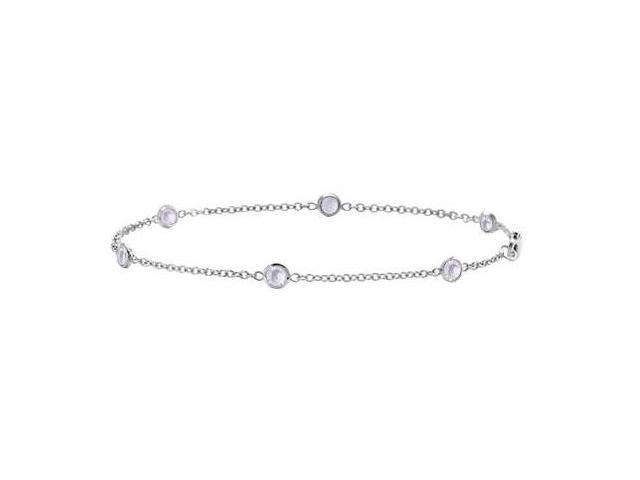 Bezel Set By the Yard White Topaz Bracelet in 14K White Gold 7 Inch Length with 0.60 Carat Weigh