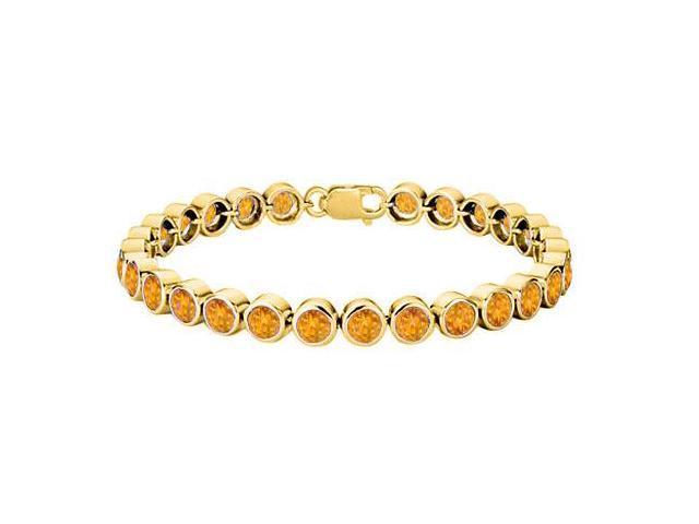25 Carat Citrine Tennis Bracelet with 18K Yellow Gold Vermeil in Sterling Silver Bezel Setting