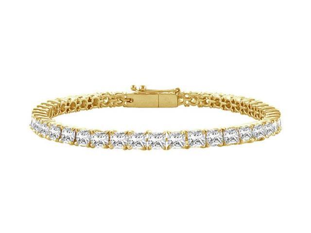 Tennis Bracelet 2 Carat Princess Cut Complete CZ Tennis Bracelet on 18K Yellow Gold Vermeil